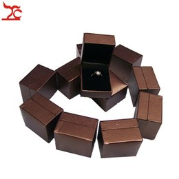 Wholesale Boxes Packaging Canada - Quality 12pcs Jewelry Display Box Brown Wedding Ring Box Jewelry Ring Package Organizer Holder Gift Box 5*4.5*3.8cm