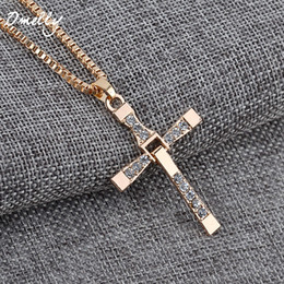 cheap silver necklace chains NZ - Cross Pendant Necklaces Crystal Charms Pendant Silver Gold Filled Statement Necklace Fashion Men Jewelry Christmas Gifts in bulk Cheap