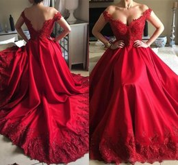 $enCountryForm.capitalKeyWord Australia - Vestidos de fiesta Red A Line Evening Dresses Formal Elegant Off Shoulder V-cut Backless Appliques Sequins Satin Long Prom Gowns