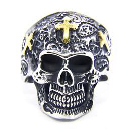 golden skull ring 2019 - 1pc Newest Size 8-13 Golden Cross Skull Ring 316L Stainless Steel Popular Fashion Biker Cool Men Boys Skull Ring discoun