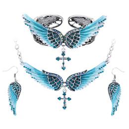 $enCountryForm.capitalKeyWord NZ - whole saleAngel wing cross necklace earrings bracelet sets women biker jewelry birthday gifts women her girlfriend dropshipping SBENC01