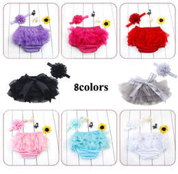 cute girls diapers 2020 - Cute New Baby Girl Bloomers Diaper Cover Headband Set Newborn Ruffle Panties Lace Infant Shorts