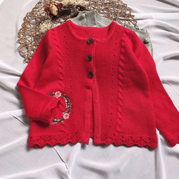 Cardigan Cotton Girls Australia - girl clothing INS new styles Red color girl Cardigan coat spring fall girl kids cardigan Sweater Flower Embroidery sweater 100% cotton