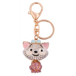 Wholesale Fishhook Retail Fashion New Design Colorful Crystal Charm Cartoon Custom Keychain Cat For Girl Gift