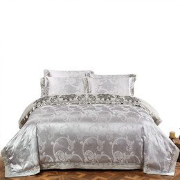 China KELUO Wedding Luxury Satin Jacquard Bedding sets Queen King size Duvet cover Bed sheet Pillow Sham Lace Gray suppliers