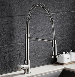 $enCountryForm.capitalKeyWord Canada - Free Shipping Brass Nickel Spring Pull Out Kitchen Faucet Sink Faucet luxury Hot & Cold luxury Water Kitchen Mixer tap