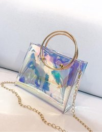 Wholesale Women Fashion Handbag Laser PVC Holographic Hologram Clutch Purse Cute Girl Makeup Bag Party Handbag bucket bag New