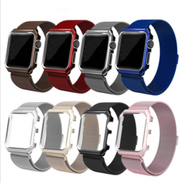 Wholesale Big Deal Milanese Stainless Steel Watch Band Straps with Protect Cover Case for Apple Watch Series iWatch mm mm