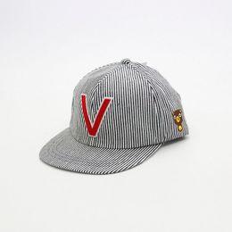 d0df22d9820 Letter Big V Bear Children Baseball Cap Fashion Cute Striped Hat Kids  Outdoor A Cap for A Boy Girl Casual Bone Snapback Hats