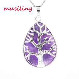 Chinese  Water Drop Life Tree Pendants Necklace Chain Jewelry For Women Charms Bohemian Healing Chakra Wicca Witch Amulet Fashion Jewelry manufacturers