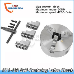 Venta al por mayor de Mandril autocentrante 4200 rpm 4 pulgadas 3 mordaza 100 mm K11-100 con llave y tornillos de acero endurecido para fresadora de perforación
