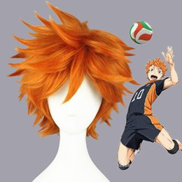 Discount hinata costumes Haikyuu!! Hinata Syouyou Short Orange Fluffy Layered Cosplay Wigs Heat Resistant Synthetic Hair Anime Wig + Wig Cap