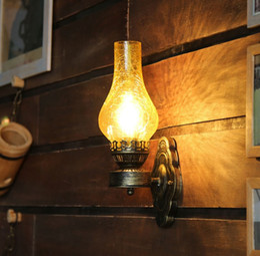 rustic wall light fixtures 2018 - Antique Rustic Iron Wall Lamp Vintage Kerosene Lantern Light Rusty Corridor Hallway Wall Sconce Lighting Lamp Matty Fixt