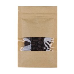 12x20cm / 4.75x7.75 in Tear Notch Reclosable Brown Flat Pouch Kraft Paper Zip Lock Bag con finestra trasparente 100pcs