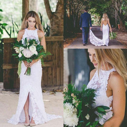 Wholesale hot summer long skirts for sale - Group buy Hot White Full Lace High Neck Wedding Dresses Open Back Front Slit Cheap Country Garden Bridal Gowns Long Trains Summer bohemian Modest