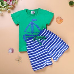 $enCountryForm.capitalKeyWord NZ - 2018 kids summer clothing set short sleeve t shirt stripe short pants for girls boy children pirate ship anchor fish boat print