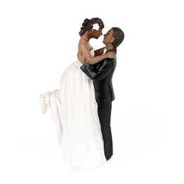 anniversary party decorations UK - African American Romance Wedding Anniversary Cake Toppers Couple Happy Bride and Groom Wedding Party Cake Decoration Home Supplies