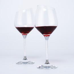 $enCountryForm.capitalKeyWord UK - Hot Sale Water Droplet Shaped Wine Glass filled with Rhinestone Stem & Crystal K9 Base Bevel Design Wine Goblet Set Drinking Cup