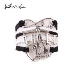 $enCountryForm.capitalKeyWord NZ - whole saleLittle Ming Lou Infinity Love CHEF bracelet Knife and fork double heart charms leather men bracelets & bangles for women jewelry