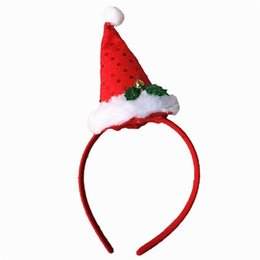 head band supplies 2019 - Merry Christmas Santa Claus Plush Hat Dress Costume DIY Party decor Xmas gift Dress Up Supply head wear Hair Band gift f