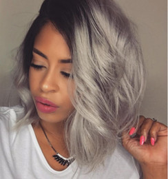 tone hair color lace fronts Australia - ombre grey bob human hair wig lace front wig ombre color two tone black to grey bob wig for women