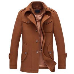 Vente en gros Hiver Chaud Hommes Casual Vestes En Laine Manteau Slim Fit Vestes Hommes Casual Veste Manteau Pea Coat Plus La Taille M-XXXL Manteau