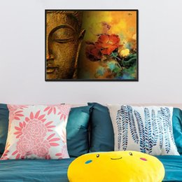 $enCountryForm.capitalKeyWord NZ - Buddha Head Rose High Quality Handpainted & HD Print Modern Religion Portrait Art Oil Painting On Canvas For Wall Art Home Decor p406