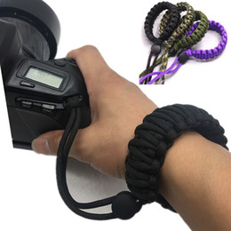 camera pendants wholesale Australia - 3pcs lot Outdoor Survival Camera Umbrella Rope Bracelet Handmade Wristband Braided Cord Knitted Camera Pendant Wrist Strap
