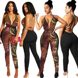 Discount women party clothing - women club sequins jumpsuit rompers deep v-neck sexy party jumpsuits backless halter jumpsuit bling bling lady night clu