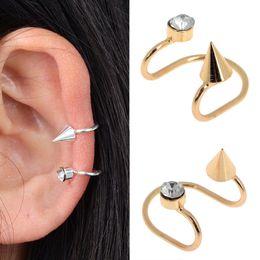 eed69edbf 1PC Chic Women Crystal Rivet Ear Cuff No Piercing Cartilage Earrings Spike Ear  Clips Gold Silver Color Fashion Jewelry