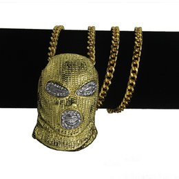 ice face mask NZ - 18k gold CSGO Mask Head Pendant Necklace Iced Out Rhinestone Zinc Alloy Gold Silver Men's Hip Hop Pendants Punk Jewelry