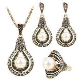 Vintage pearl ring gold online shopping - Luxury Jewelry Sets Chocker Ring Chandelier Sets Vintage Gemstone Golden Plated Necklaces Pendants Faux Pearl Dangle Earrings