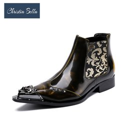 Christia Bella New Winter Shoes Genuine Leather Men Pointed Toe Metal Tip  Dress Boots Fashion Embroidered Mens Booties 3c162a0516bb