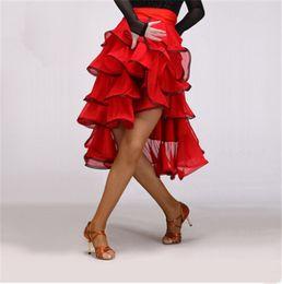 b92ee17b599 Adult Girls Latin Dance Dress Salsa Tango Chacha Ballroom Competition  Practice Dance Dress Red Black Sexy multilayer petal lace skirt