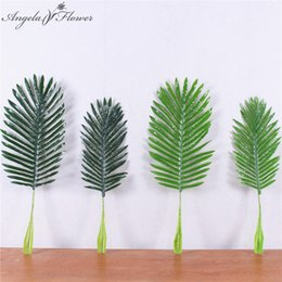 Discount coconut flowers - Artificial green coconut leaf simulation green plant wall flower accessories DIY wedding decor for flower wall home deco