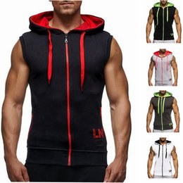 Wholesale 2018 Singlets Mens Fitness Crossfit Tank Tops Muscle Brother Male Vest Oblique Zipper Men S Sleeveless Hooded Bodybuilding Gyms