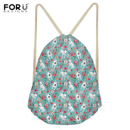 Wholesale FORUDESIGNS Cute D Puppy Bull Terrier Floral Print Backpacks for Girls Boys Casual Students Storage Bookbags Softback Sack Bag