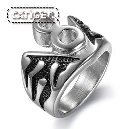 Steel flame jewelry online shopping - Punk L Stainless Steel Silver White Black color Biker Lucky Number Flaming Ring Jewelry