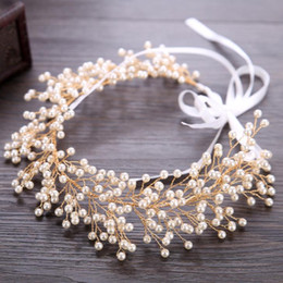 $enCountryForm.capitalKeyWord NZ - Pearl hair with gold wedding dress accessories, Bridal Headband hair band.