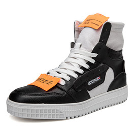 $enCountryForm.capitalKeyWord UK - Autumn Fashion Kanye West Off Casual White Shoes Platform Sneaker Thick Soled High Top Shoes Flats Cross-tied Lace Up Men Shoes