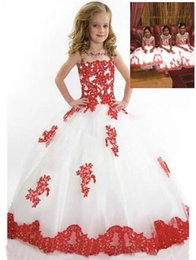 Birthday Party T Shirts Australia - Formal Red Lace Sash Tulle Custom Cute Ball Gown Flower Girl Dresses Floor Length Hand Made Kids Party Birthday Dress