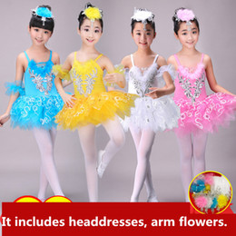 ballerina tutu kids UK - Professional White Swan Lake Ballet Tutu Costume Girls Children Ballerina Dress Kids Ballet Dress Dancewear Dance Dress For Girls 4COLOR