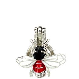 $enCountryForm.capitalKeyWord NZ - 10pcs lot Silver Enamel Rhinestone Insect Oysters Beads Cage Locket Pendant Aromatherapy Perfume Essential Oils Diffuser