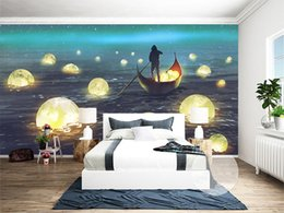 sea wallpaper for walls NZ - Customized 3D Wallpaper Boat Moon Dreamy Cartoon Night Sea View Poster Cafe Bar Living Room Home Decoration TV Background Wall Mural