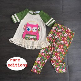 Wholesale Rare editions Owl design Outfit Kids Girls Cartoon tops flower pant Set Boutique Clothing for T