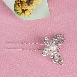 flower hair clip vintage Australia - 1 2 PCs Vintage Wedding Bridal Hair Pins Bridesmaid Pearl Flower Hair Clips Crystal Hairpins Butterfly Jewelry Headwear Women