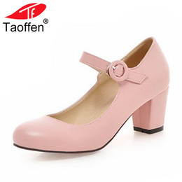5b4ddae27af wholesale Cute Girl S Pumps Buckle Thick Med Heels Round Toe Shoes Women  Spring Summer Dancing Solid Dropshippinig Shoe Size 33-43