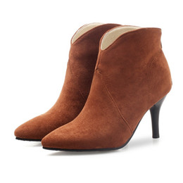 $enCountryForm.capitalKeyWord UK - Fashion Hot Sale Womens Ladies Solid Color Pointed Toes Shoes Stiletto Heel Zip Ankle Boots B905 Size Customized
