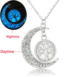 glow dark jewelry UK - Silver Color Tree of Life Crescent Moon Pendant Necklace Luminous Stone For Women Glow In The Dark Jewelry Gift