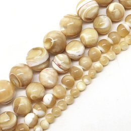 natural stone shell jewelry NZ - 8mm Natural Trochus Shell Stone 4 6 8 10 mm Round Loose Beads 15inches strand For Women jewelry Making DIY Bracelet Necklace